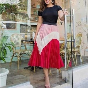 Multi colored midi pleated skirt